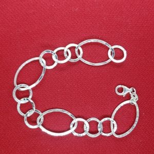 Sterling silver 925 hammered linked bracelet